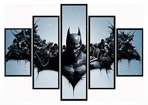 Quadro Mosaico 5 Partes Batman Arkham Origins Moldura Preta Art e Cia