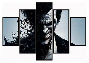 Quadro Mosaico 5 Partes The Joker Moldura Preta Art e Cia