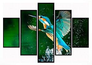 Quadro Mosaico 5 Partes  Beija-flor Moldura Preta Art e Cia
