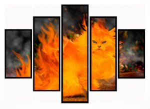 Quadro Mosaico 5 Partes Gato de Fogo Moldura Preta Art e Cia