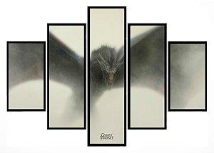 Quadro Mosaico 5 Partes Game Of Thrones Dragon Moldura Preta Art e Cia