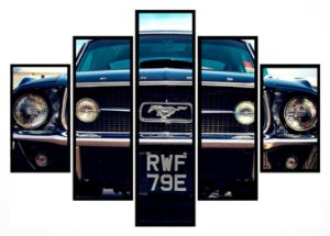 Quadro Mosaico 5 Partes Ford Mustang Moldura Preta Art e Cia