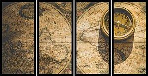 Quadro Mosaico 4 Partes Reto Bussola e Mapa Art E Cia Preto