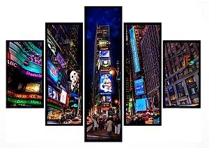 Quadro Mosaico 5 Partes Times Square Moldura Preta Art e Cia