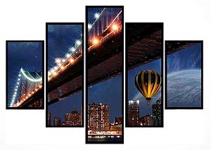 Quadro Mosaico 5 Partes Ponte Do Brooklyn Moldura Preta Art e Cia