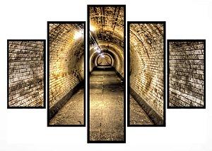 Quadro Mosaico 5 Partes Tunel Moldura Preta Art e Cia