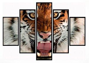 Quadro Mosaico 5 Partes Eyes Of The Tiger Moldura Preta Art e Cia