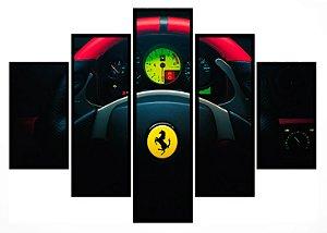 Quadro Mosaico 5 Partes  Volante Ferrari Moldura Preta Art e Cia