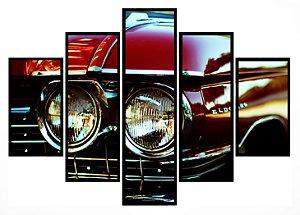 Quadro Mosaico 5 Partes Vintage Eldorado Moldura Preta Art e Cia