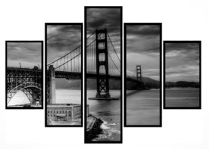 Quadro Mosaico 5 Partes San Francisco Golden Gate Moldura Preta Art e Cia