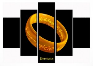 Quadro Mosaico 5 Partes The Lord Of The Rings Moldura Preta Art e Cia