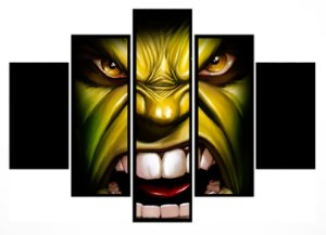 Quadro Mosaico 5 Partes Hulk Moldura Preta Art e Cia