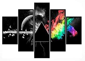 Quadro Mosaico 5 Partes Eclipse Pink Floyd Moldura Preta Art e Cia