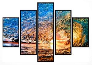 Quadro Mosaico 5 Partes Onda com Por Do Sol Moldura Preta Art e Cia