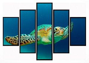 Quadro Mosaico 5 Partes Tartaruga Moldura Preta Art e Cia