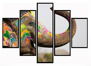 Quadro Mosaico 5 Partes Elefante Indiano Moldura Preta Art e Cia