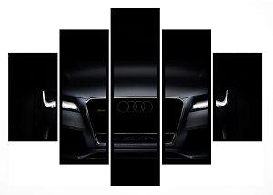 Quadro Mosaico 5 Partes Audi Preto Moldura Preta Art e Cia