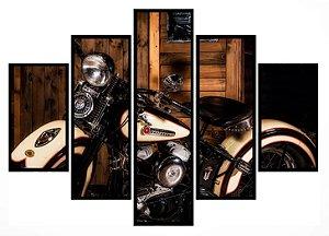 Quadro Mosaico 5 Partes Harley Davidson Moldura Preta Art e Cia