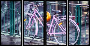 Quadro Mosaico 4 Partes Reto Bicicleta Rosa Art e Cia Preto