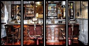 Quadro Mosaico 4 Partes Reto Decoracao Barbearia Art e Cia Preto