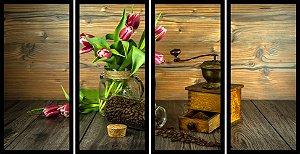 Quadro Mosaico 4 Partes Reto Flor e Graos de Cafe Art E Cia Preto