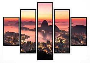 Quadro Mosaico 5 Partes Rio de Janeiro Pao De Acucar Moldura Preta Art e Cia