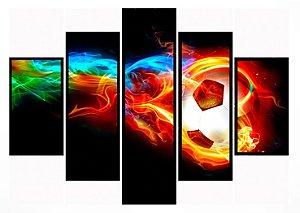 Quadro Mosaico 5 Partes Bola de Futebol Moldura Preta Art e Cia