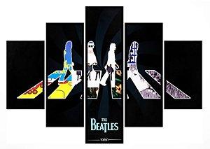 Quadro Mosaico 5 Partes The Beatles Moldura Preta Art e Cia