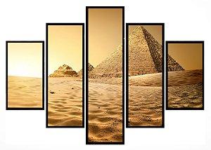 Quadro Mosaico 5 Partes Piramide Do Egito Moldura Preta Art e Cia