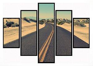 Quadro Mosaico 5 Partes The Road Moldura Preta Art e Cia
