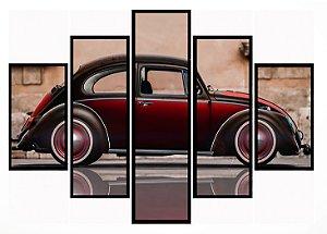 Quadro Mosaico 5 Partes Volkswagem Fusca Moldura Preta Art e Cia