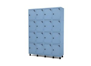 Roupeiro de Aco 4 Vaos 16 Portas com Pitao Pandin Azul Dali  1,90 M