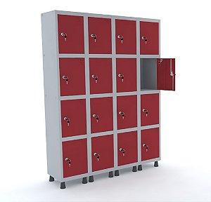 Roupeiro de Aco 4 Vaos 16 Portas com Fechadura Pandin Cinza e Vermelho  1,90 M
