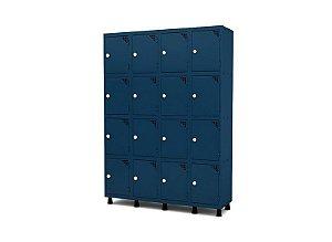 Roupeiro de Aco 4 Vaos 16 Portas com Fechadura Pandin Azul Del Rey  1,90 M