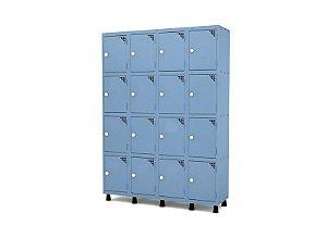 Roupeiro de Aco 4 Vaos 16 Portas com Fechadura Pandin Azul Dali  1,90 M