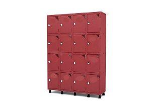 Roupeiro de Aco 4 Vaos 16 Portas com Fechadura Pandin Vermelho  1,90 M