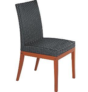 Cadeira de Madeira em Jatoba Sem Bracos com Estofado Preto Em Fibra Sintetica Polietileno Tramontina Preto 90 Cm