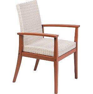 Cadeira de Madeira em Jatoba com Estofado Bege Em Fibra Sintetico Tramontina