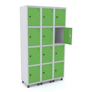 Roupeiro de Aco 3 Vaos 12 Portas com Pitao Pandin Cinza e Verde Miro  1,90 M