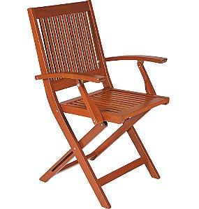 Cadeira de Madeira Dobravel em Jatoba com Acabamento Eco Blindage Com Bracos Tramontina 91 Cm