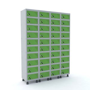 Armario Porta Objetos de Aco 4 Vaos 40 Portas Pandin Cinza e Verde Miro  1,90 M