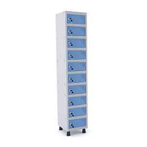 Armario Porta Objetos de Aco 1 Vao 10 Portas Pandin Cinza e Azul Dali  1,90 M