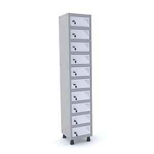 Armario Porta Objetos de Aco 1 Vao 10 Portas Pandin Cinza e Branco  1,90 M