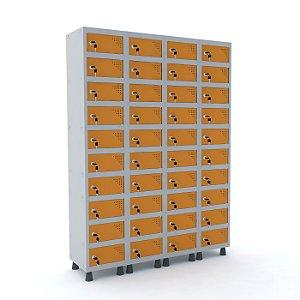 Armario Porta Objetos de Aco 4 Vaos 40 Portas Pandin Cinza e Laranja Picasso  1,90 M