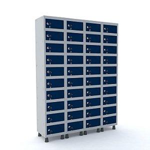 Armario Porta Objetos de Aco 4 Vaos 40 Portas Pandin Cinza e Azul Del Rey  1,90 M