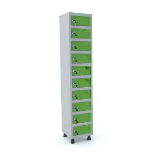 Armario Porta Objetos de Aco 1 Vao 10 Portas Pandin Cinza e Verde Miro  1,90 M