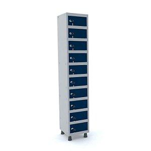 Armario Porta Objetos de Aco 1 Vao 10 Portas Pandin Cinza e Azul Del Rey  1,90 M
