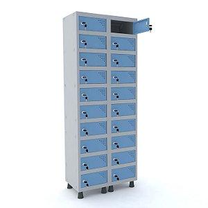 Armario Porta Objetos de Aco 2 Vaos 20 Portas Pandin Cinza e Azul Dali  1,90 M