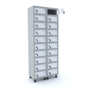 Armario Porta Objetos de Aco 2 Vaos 20 Portas Pandin Cinza e Branco  1,90 M