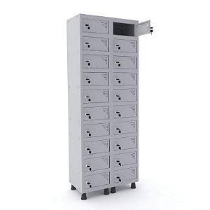 Armario Porta Objetos de Aco 2 Vaos 20 Portas Pandin Cinza Cristal  1,90 M